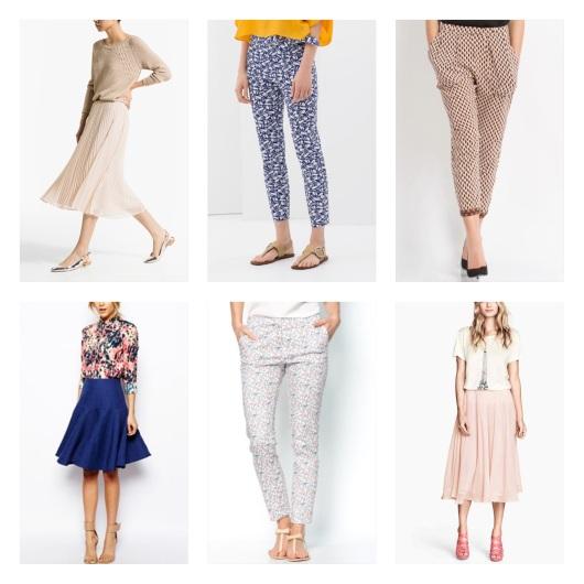 jupes mi-longues et pantalons à imprimés